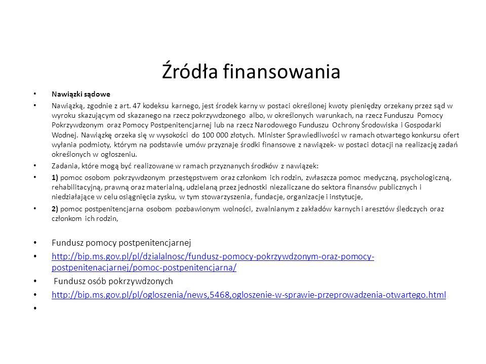 Źródła finansowania Nawiązki sądowe Nawiązką, zgodnie z art.