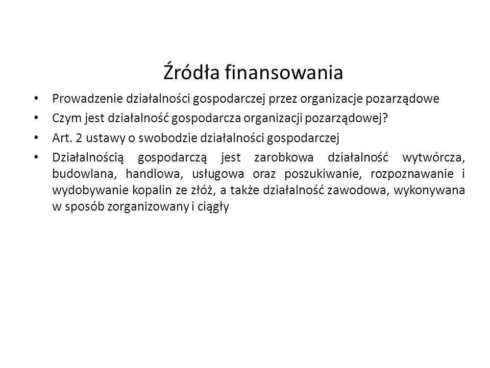 Źródła finansowania Prowadzenie działalności gospodarczej przez organizacje pozarządowe Czym jest działalność gospodarcza organizacji pozarządowej? Ar