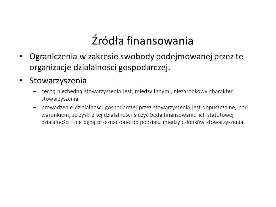 Źródła finansowania Ograniczenia w zakresie swobody podejmowanej przez te organizacje działalności gospodarczej. Stowarzyszenia – cechą niezbędną stow