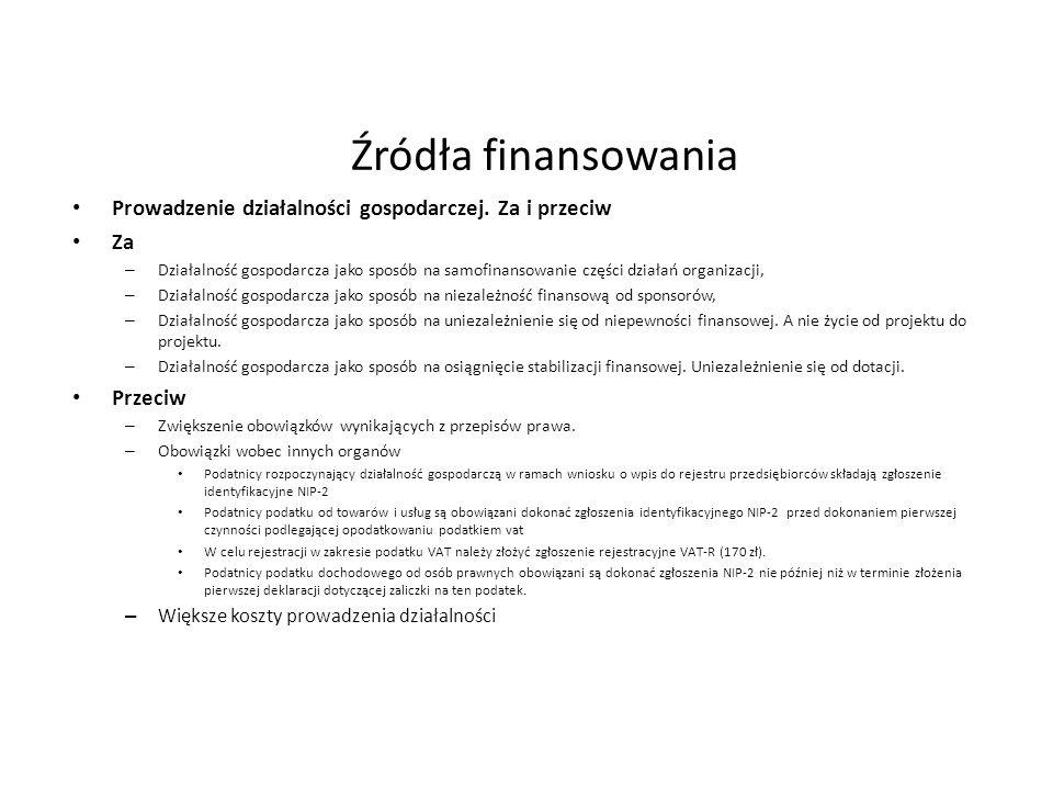 Źródła finansowania Prowadzenie działalności gospodarczej. Za i przeciw Za – Działalność gospodarcza jako sposób na samofinansowanie części działań or