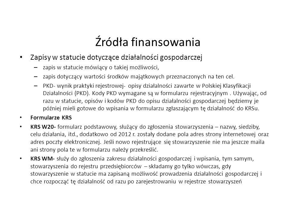 Źródła finansowania Zapisy w statucie dotyczące działalności gospodarczej – zapis w statucie mówiący o takiej możliwości, – zapis dotyczący wartości środków majątkowych przeznaczonych na ten cel.