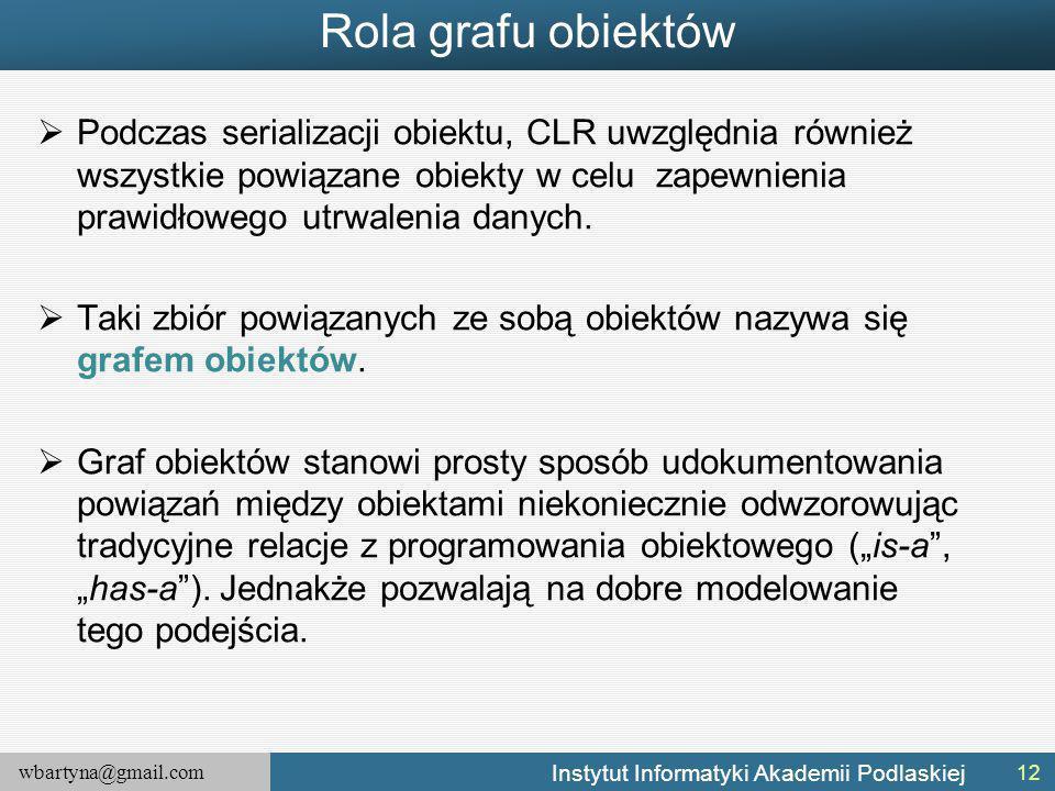 wbartyna@gmail.com Instytut Informatyki Akademii Podlaskiej Rola grafu obiektów  Podczas serializacji obiektu, CLR uwzględnia również wszystkie powią