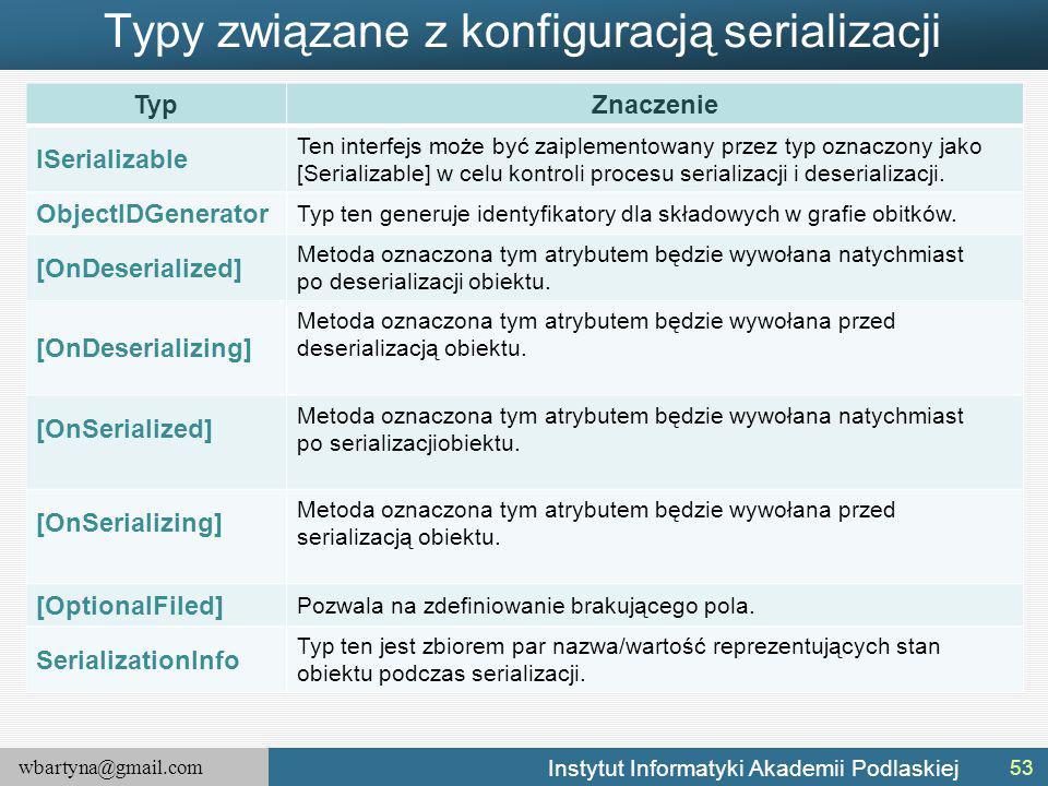 wbartyna@gmail.com Instytut Informatyki Akademii Podlaskiej Typy związane z konfiguracją serializacji TypZnaczenie ISerializable Ten interfejs może być zaiplementowany przez typ oznaczony jako [Serializable] w celu kontroli procesu serializacji i deserializacji.