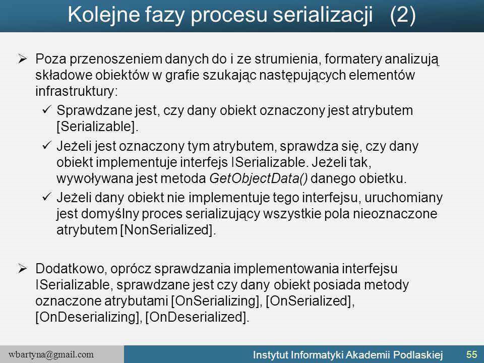 wbartyna@gmail.com Instytut Informatyki Akademii Podlaskiej Kolejne fazy procesu serializacji (2)  Poza przenoszeniem danych do i ze strumienia, form