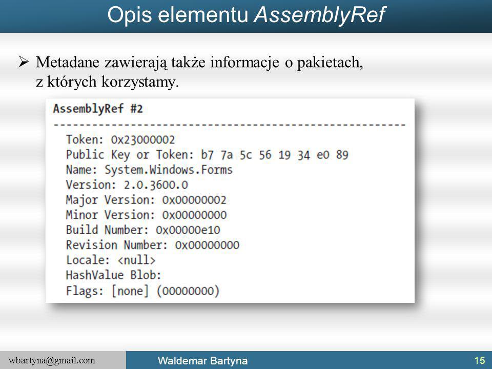 wbartyna@gmail.com Waldemar Bartyna Opis elementu AssemblyRef  Metadane zawierają także informacje o pakietach, z których korzystamy.