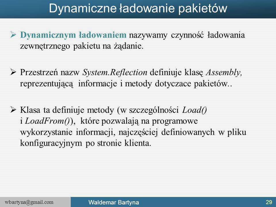 wbartyna@gmail.com Waldemar Bartyna Dynamiczne ładowanie pakietów  Dynamicznym ładowaniem nazywamy czynność ładowania zewnętrznego pakietu na żądanie.