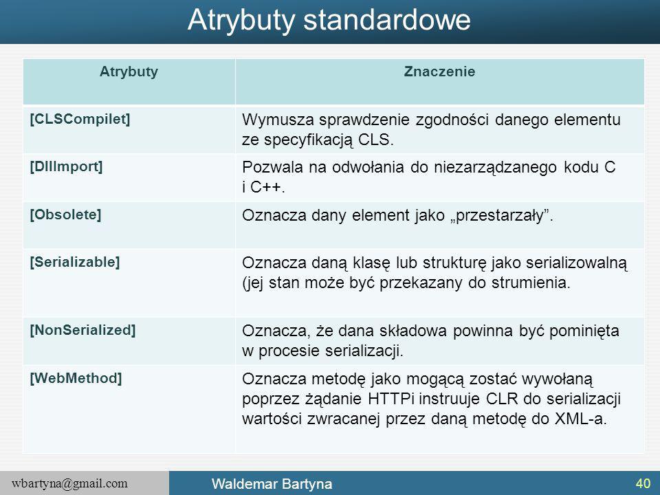 wbartyna@gmail.com Waldemar Bartyna Atrybuty standardowe 40 AtrybutyZnaczenie [CLSCompilet] Wymusza sprawdzenie zgodności danego elementu ze specyfikacją CLS.