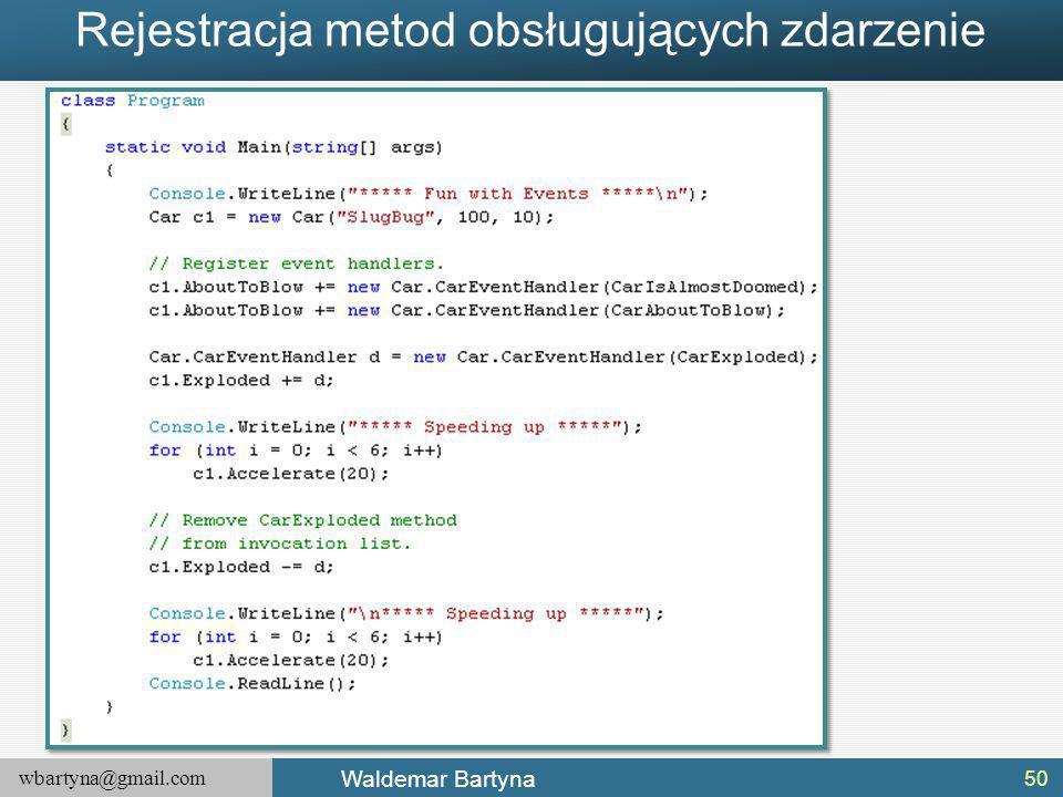 wbartyna@gmail.com Waldemar Bartyna Rejestracja metod obsługujących zdarzenie 50