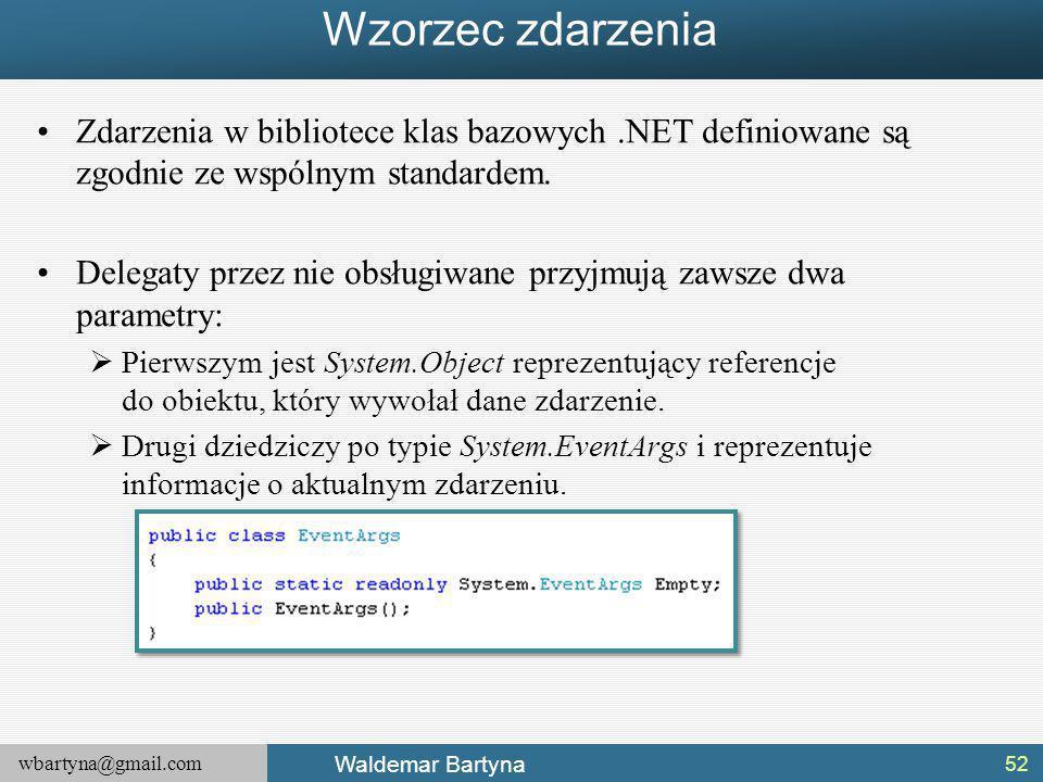 wbartyna@gmail.com Waldemar Bartyna Wzorzec zdarzenia Zdarzenia w bibliotece klas bazowych.NET definiowane są zgodnie ze wspólnym standardem.