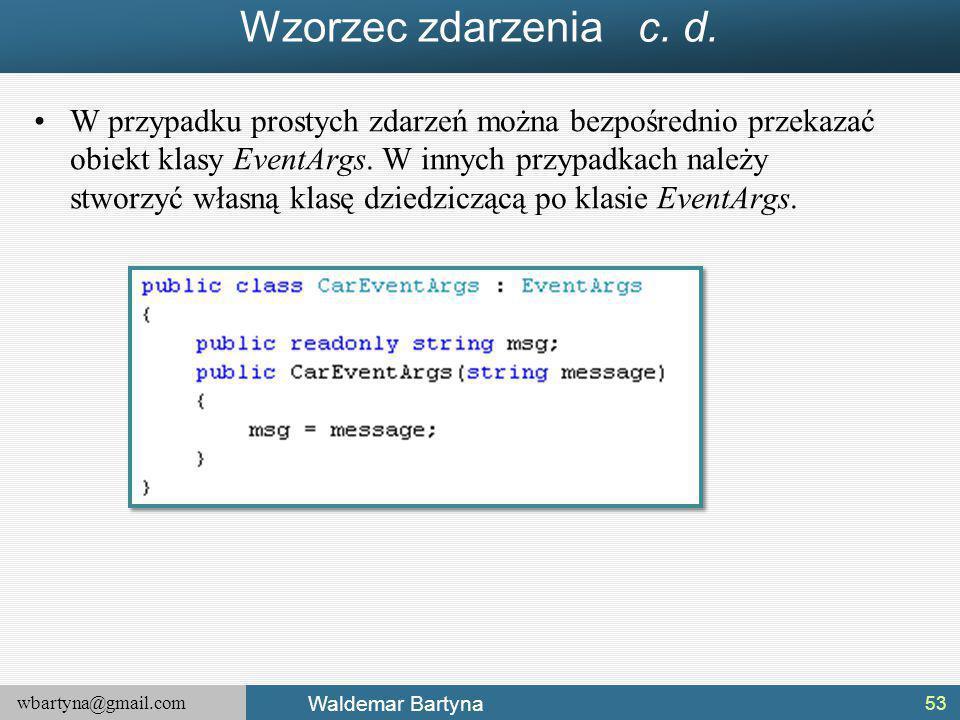 wbartyna@gmail.com Waldemar Bartyna Wzorzec zdarzenia c.