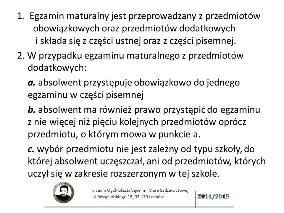Język obcy nowożytny jako przedmiot dodatkowy Ten sam, który był zdawany jako obowiązkowy Wyłącznie w części pisemnej Zarówno w części ustnej, jak i pisemnej albo