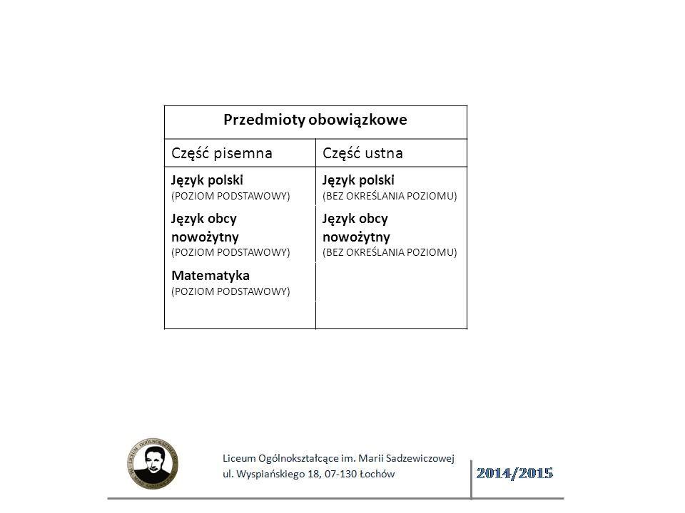 Przedmioty obowiązkowe Część pisemnaCzęść ustna Język polski (POZIOM PODSTAWOWY) Język polski (BEZ OKREŚLANIA POZIOMU) Język obcy nowożytny (POZIOM PODSTAWOWY) Język obcy nowożytny (BEZ OKREŚLANIA POZIOMU) Matematyka (POZIOM PODSTAWOWY)