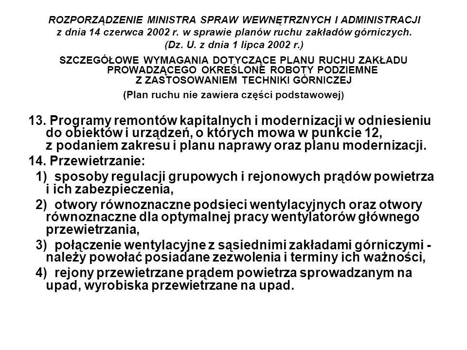 ROZPORZĄDZENIE MINISTRA SPRAW WEWNĘTRZNYCH I ADMINISTRACJI z dnia 14 czerwca 2002 r. w sprawie planów ruchu zakładów górniczych. (Dz. U. z dnia 1 lipc