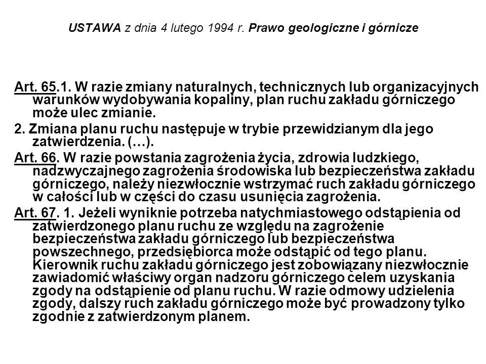 USTAWA z dnia 4 lutego 1994 r. Prawo geologiczne i górnicze Art. 65.1. W razie zmiany naturalnych, technicznych lub organizacyjnych warunków wydobywan