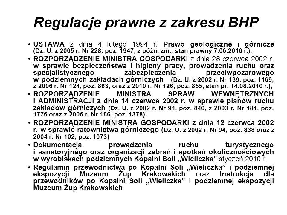Regulacje prawne z zakresu BHP USTAWA z dnia 4 lutego 1994 r. Prawo geologiczne i górnicze (Dz. U. z 2005 r. Nr 228, poz. 1947, z późn. zm., stan praw