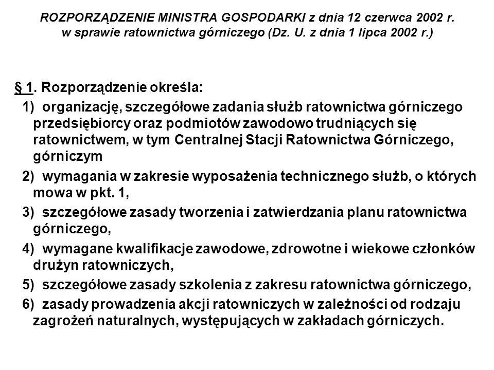 ROZPORZĄDZENIE MINISTRA GOSPODARKI z dnia 12 czerwca 2002 r. w sprawie ratownictwa górniczego (Dz. U. z dnia 1 lipca 2002 r.) § 1. Rozporządzenie okre
