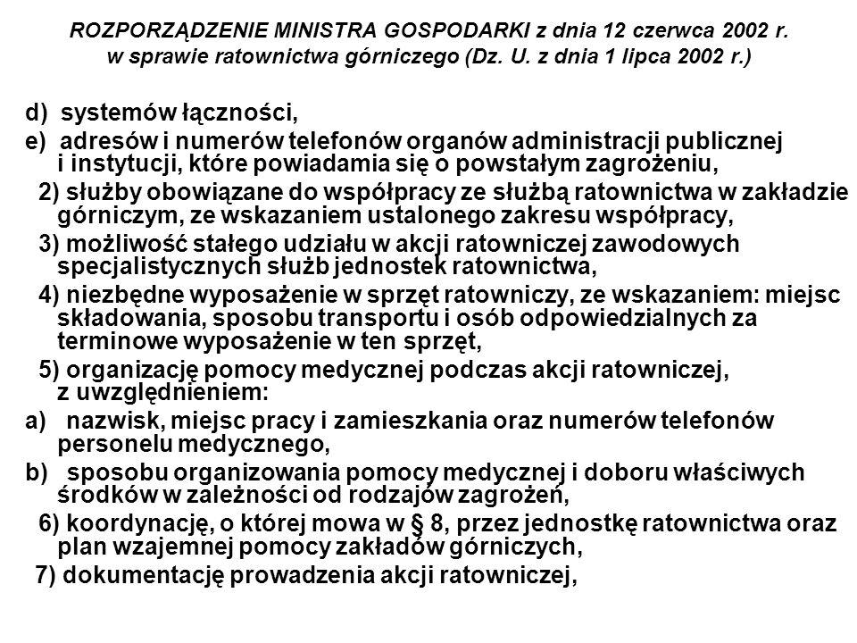 ROZPORZĄDZENIE MINISTRA GOSPODARKI z dnia 12 czerwca 2002 r. w sprawie ratownictwa górniczego (Dz. U. z dnia 1 lipca 2002 r.) d) systemów łączności, e