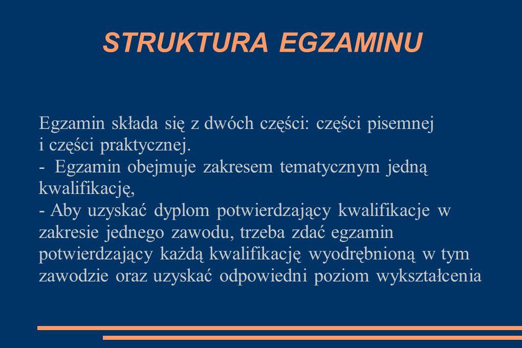 STRUKTURA EGZAMINU Egzamin składa się z dwóch części: części pisemnej i części praktycznej. - Egzamin obejmuje zakresem tematycznym jedną kwalifikację