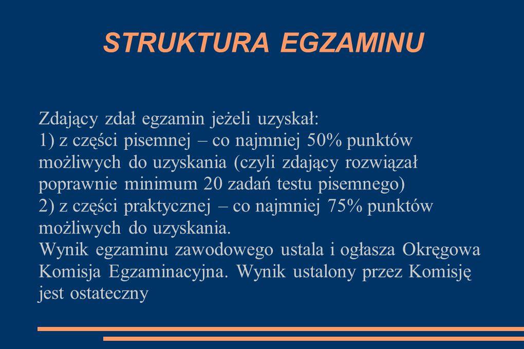 STRUKTURA EGZAMINU Zdający zdał egzamin jeżeli uzyskał: 1) z części pisemnej – co najmniej 50% punktów możliwych do uzyskania (czyli zdający rozwiązał