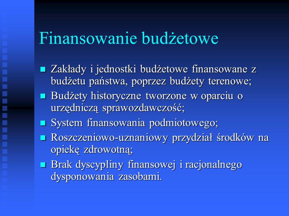 Finansowanie budżetowe Zakłady i jednostki budżetowe finansowane z budżetu państwa, poprzez budżety terenowe; Zakłady i jednostki budżetowe finansowan