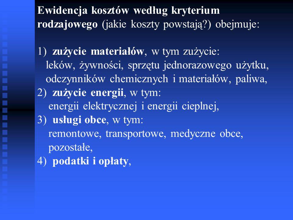 Ewidencja kosztów według kryterium rodzajowego (jakie koszty powstają?) obejmuje: 1) zużycie materiałów, w tym zużycie: leków, żywności, sprzętu jedno