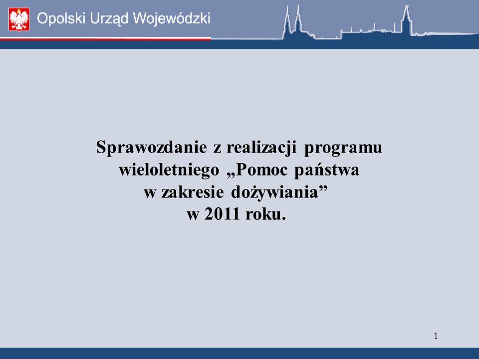 """1 Sprawozdanie z realizacji programu wieloletniego """"Pomoc państwa w zakresie dożywiania w 2011 roku."""