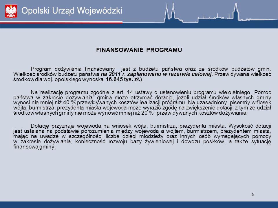 6 FINANSOWANIE PROGRAMU Program dożywiania finansowany jest z budżetu państwa oraz ze środków budżetów gmin.