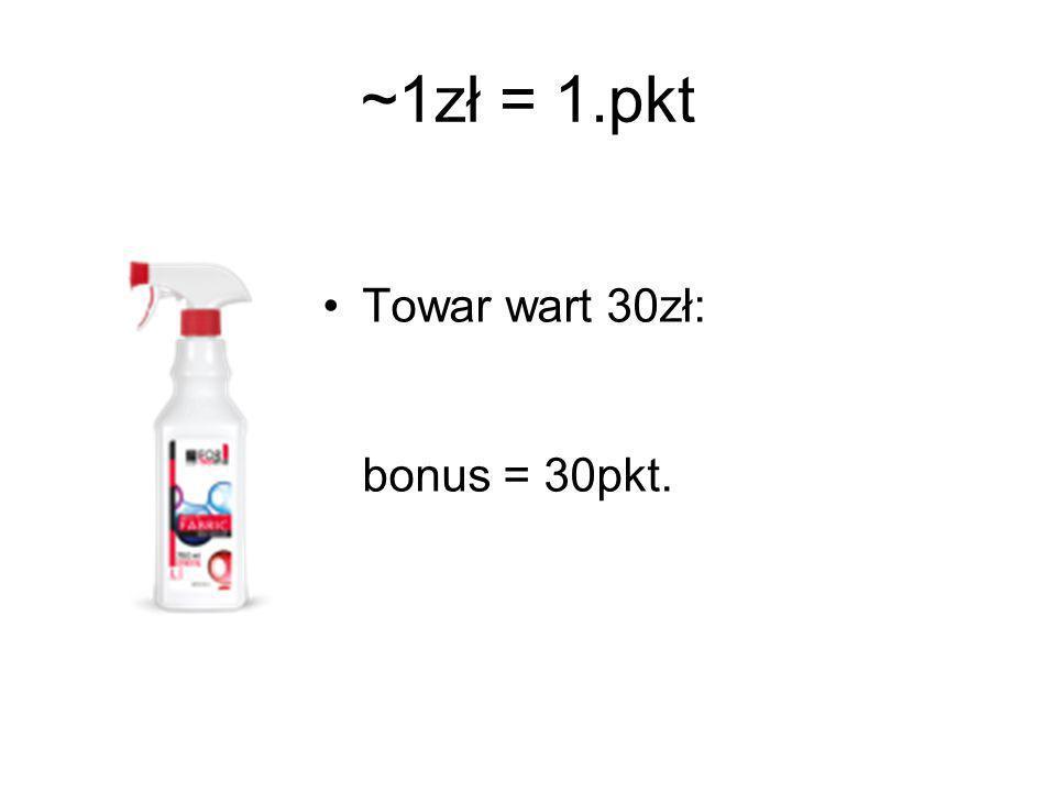 ~1zł = 1.pkt Towar wart 30zł: bonus = 30pkt.