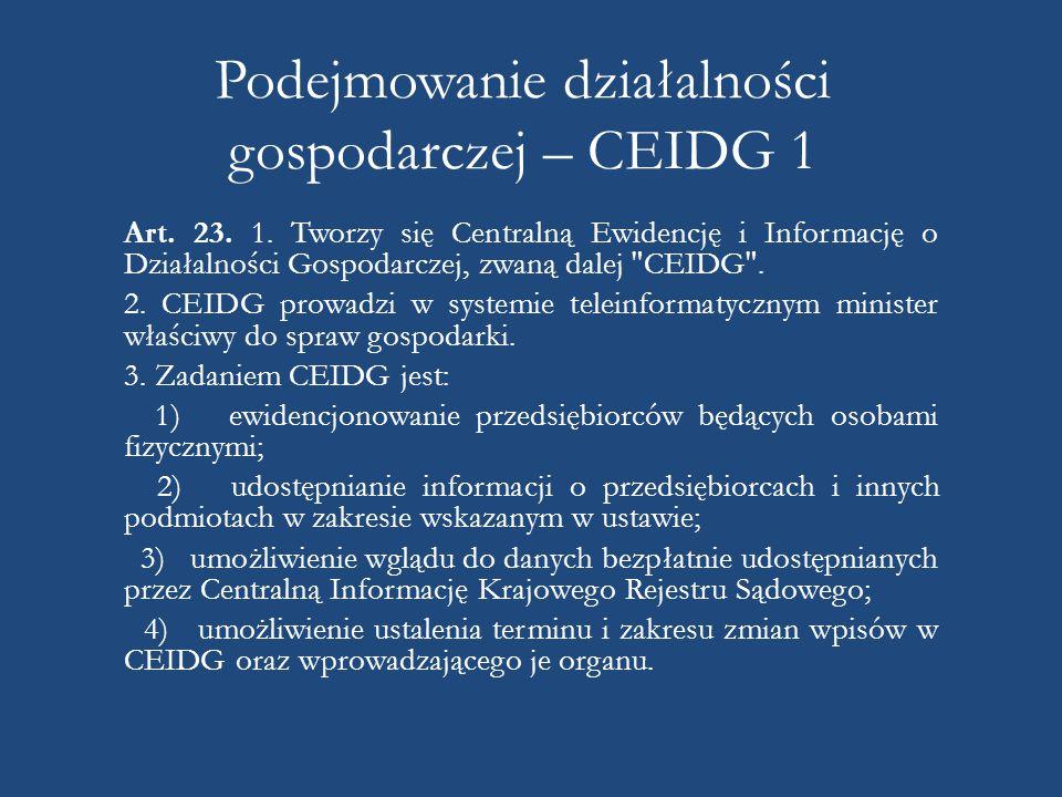 Podejmowanie działalności gospodarczej – CEIDG 1 Art.