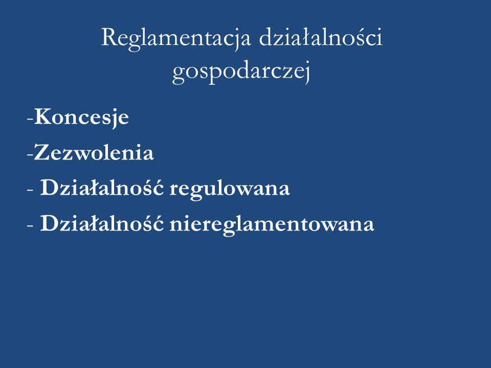 Reglamentacja działalności gospodarczej -Koncesje -Zezwolenia - Działalność regulowana - Działalność niereglamentowana