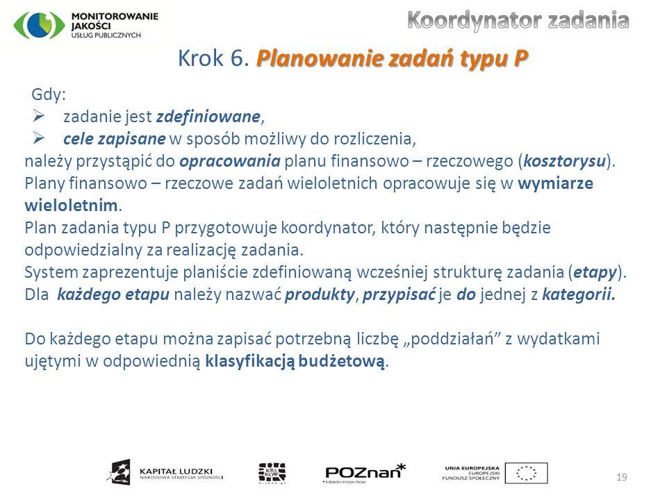 Planowanie zadań typu P Krok 6. Planowanie zadań typu P Gdy:  zadanie jest zdefiniowane,  cele zapisane w sposób możliwy do rozliczenia, należy przy