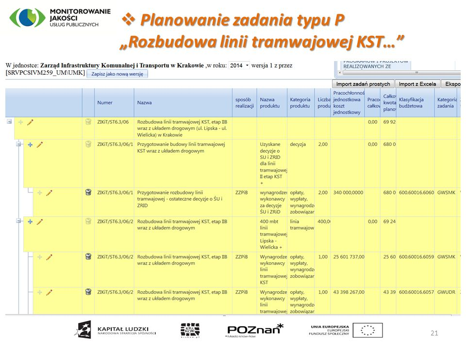 """ Planowanie zadania typu P """"Rozbudowa linii tramwajowej KST…"""" 21"""