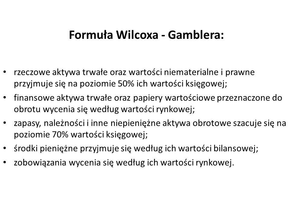 Formuła Wilcoxa - Gamblera: rzeczowe aktywa trwałe oraz wartości niematerialne i prawne przyjmuje się na poziomie 50% ich wartości księgowej; finansow