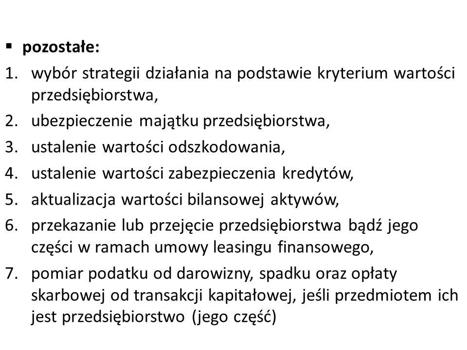  pozostałe: 1.wybór strategii działania na podstawie kryterium wartości przedsiębiorstwa, 2.ubezpieczenie majątku przedsiębiorstwa, 3.ustalenie warto