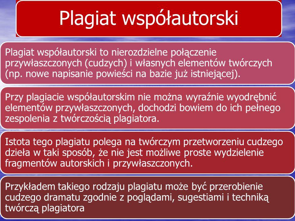 Plagiat współautorski Plagiat współautorski to nierozdzielne połączenie przywłaszczonych (cudzych) i własnych elementów twórczych (np. nowe napisanie