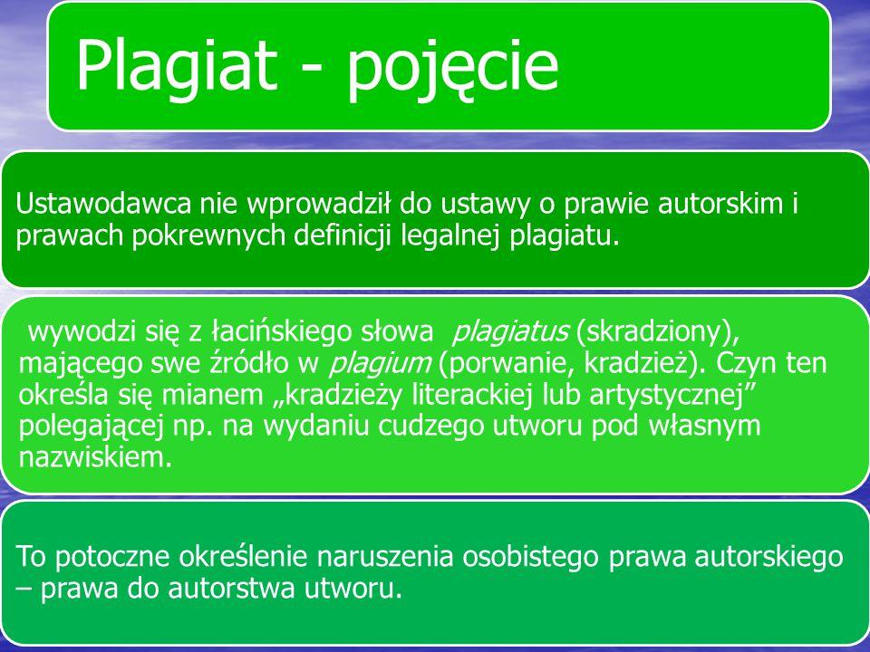 Plagiat - pojęcie Jest to przywłaszczenie sobie cudzego utworu, wydanie go pod własnym nazwiskiem, dosłownie zapożyczenie z cudzych dzieł i podanie jako twórczości własnej.