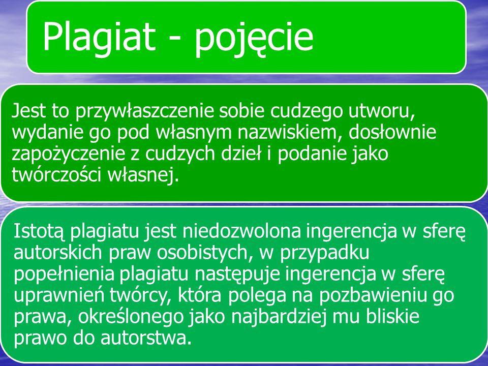 Plagiat - pojęcie Jest to przywłaszczenie sobie cudzego utworu, wydanie go pod własnym nazwiskiem, dosłownie zapożyczenie z cudzych dzieł i podanie ja