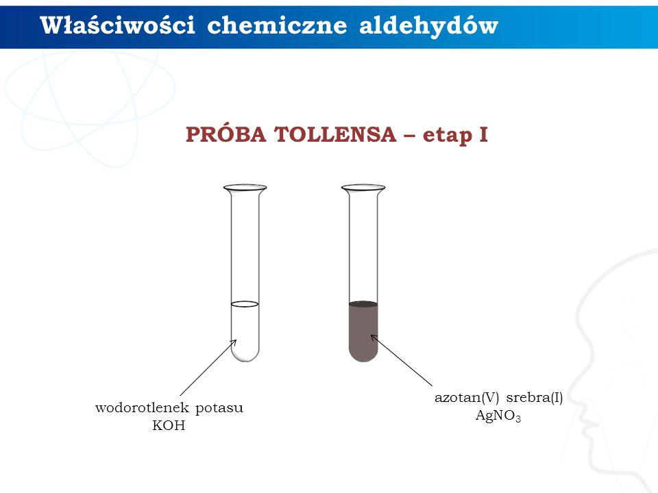 PRÓBA TOLLENSA – etap I Właściwości chemiczne aldehydów wodorotlenek potasu KOH azotan(V) srebra(I) AgNO 3