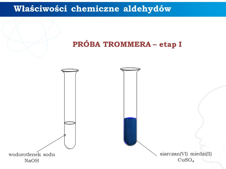 PRÓBA TROMMERA – etap I Właściwości chemiczne aldehydów wodorotlenek sodu NaOH siarczan(VI) miedzi(II) CuSO 4