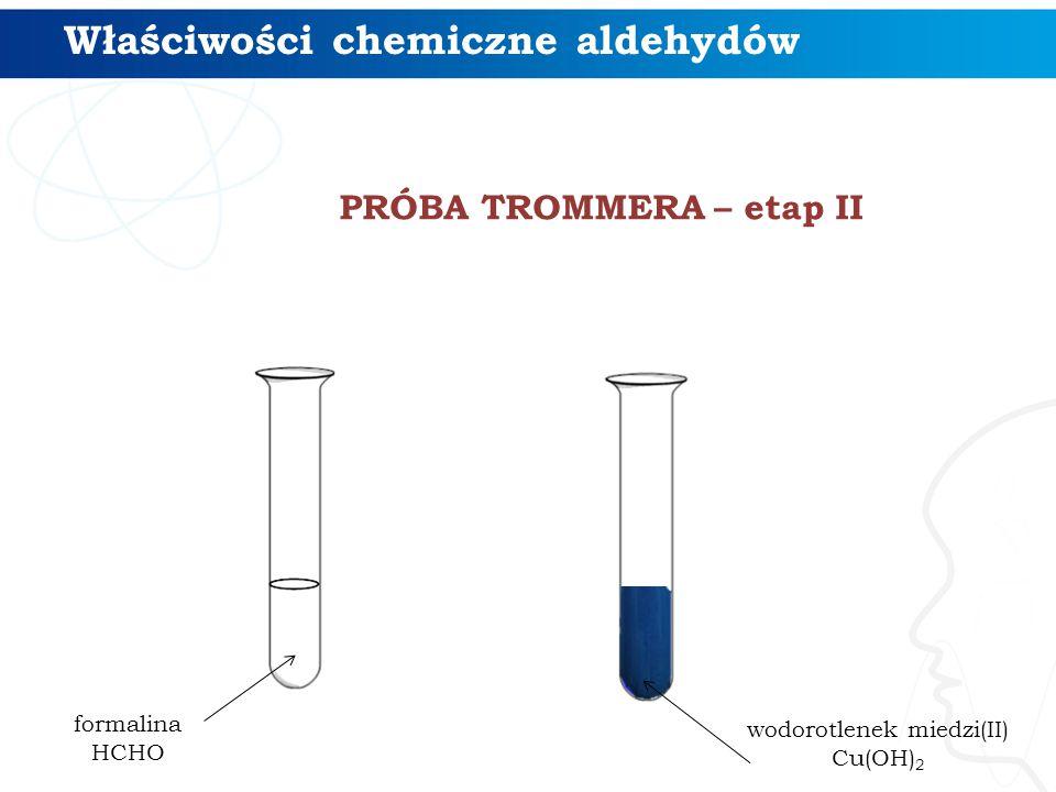 PRÓBA TROMMERA – etap II Właściwości chemiczne aldehydów formalina HCHO wodorotlenek miedzi(II) Cu(OH) 2