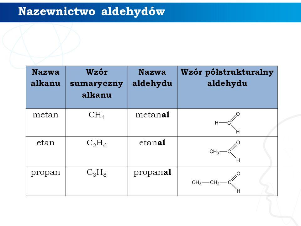 Wzór sumaryczny Wzór grupowyNazwa systematyczna Nazwa zwyczajowa HCHO metanal aldehyd mrówkowy (formaldehyd) CH 3 CHO etanal aldehyd octowy C 2 H 5 CHO propanal aldehyd propionowy C 3 H 7 CHO butanal aldehyd masłowy C 4 H 9 CHO pentanal aldehyd walerianowy Szereg homologiczny aldehydów