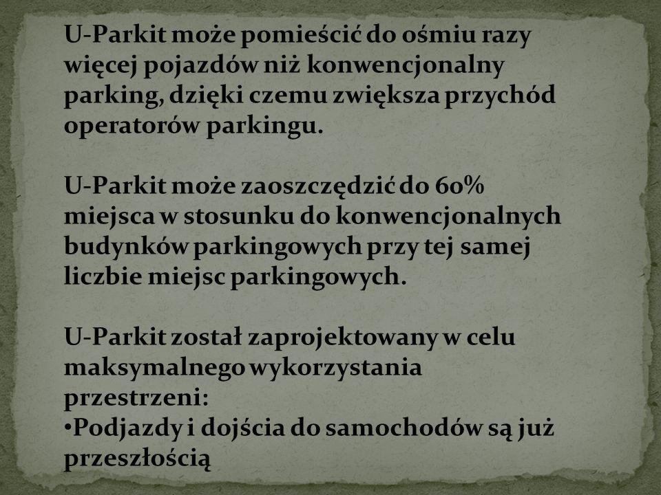 U-Parkit może pomieścić do ośmiu razy więcej pojazdów niż konwencjonalny parking, dzięki czemu zwiększa przychód operatorów parkingu.