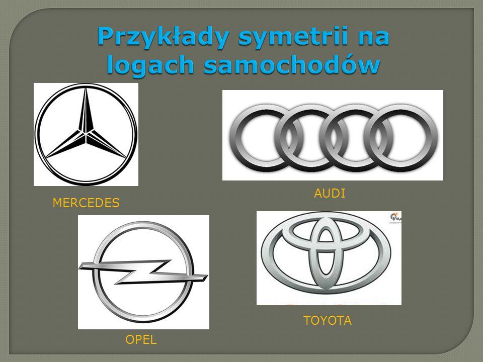 Przykłady symetrii na logach samochodów MERCEDES TOYOTA AUDI OPEL