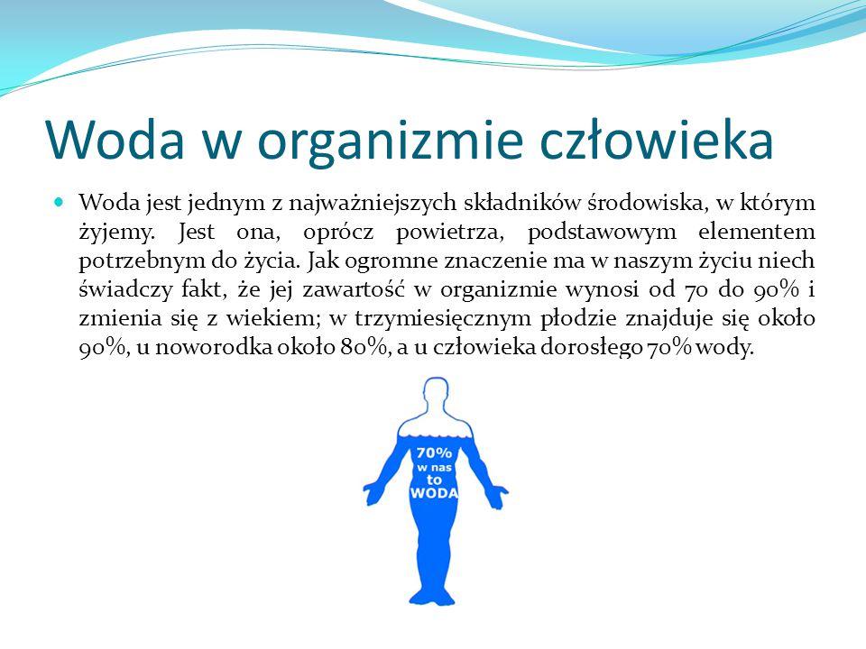 Woda w organizmie człowieka Woda jest jednym z najważniejszych składników środowiska, w którym żyjemy. Jest ona, oprócz powietrza, podstawowym element