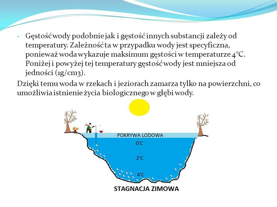 - Gęstość wody podobnie jak i gęstość innych substancji zależy od temperatury. Zależność ta w przypadku wody jest specyficzna, ponieważ woda wykazuje