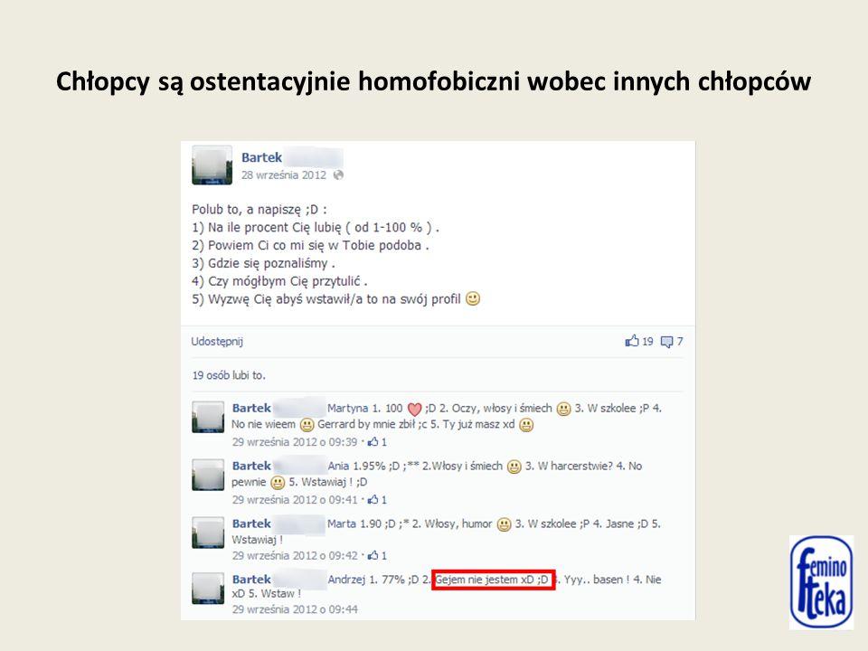 Chłopcy są ostentacyjnie homofobiczni wobec innych chłopców