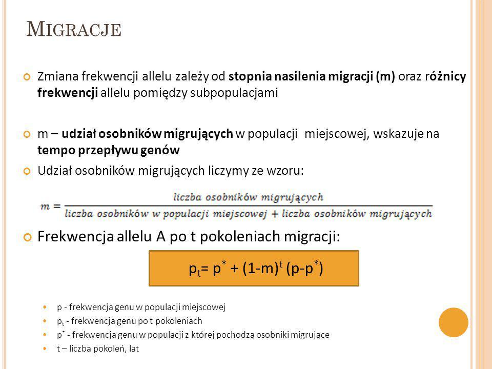 M IGRACJE Zmiana frekwencji allelu zależy od stopnia nasilenia migracji (m) oraz różnicy frekwencji allelu pomiędzy subpopulacjami m – udział osobnikó