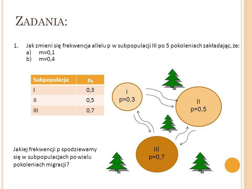 Z ADANIA : Subpopulacjap0p0 I0,3 II0,5 III0,7 1.Jak zmieni się frekwencja allelu p w subpopulacji III po 5 pokoleniach zakładając, że: a)m=0,1 b)m=0,4