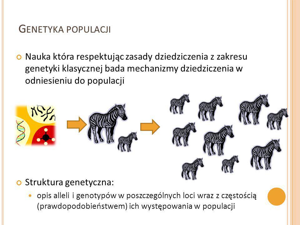 G ENETYKA POPULACJI Nauka która respektując zasady dziedziczenia z zakresu genetyki klasycznej bada mechanizmy dziedziczenia w odniesieniu do populacj