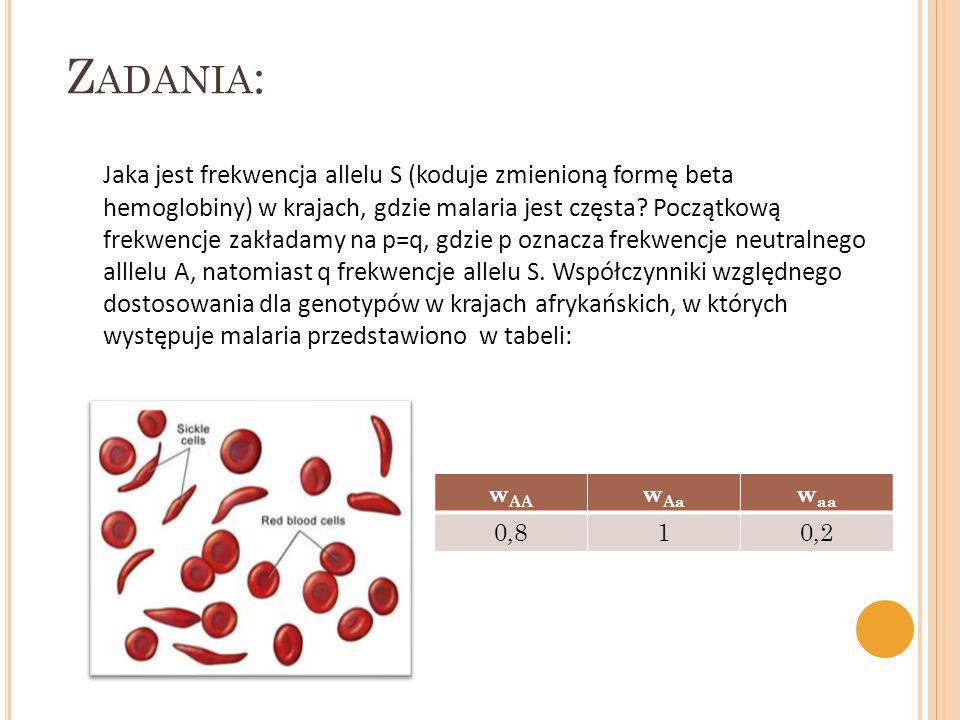 Jaka jest frekwencja allelu S (koduje zmienioną formę beta hemoglobiny) w krajach, gdzie malaria jest częsta? Początkową frekwencje zakładamy na p=q,